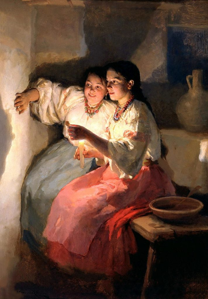 19th century Ukrainian painting of two girls fortune-telling