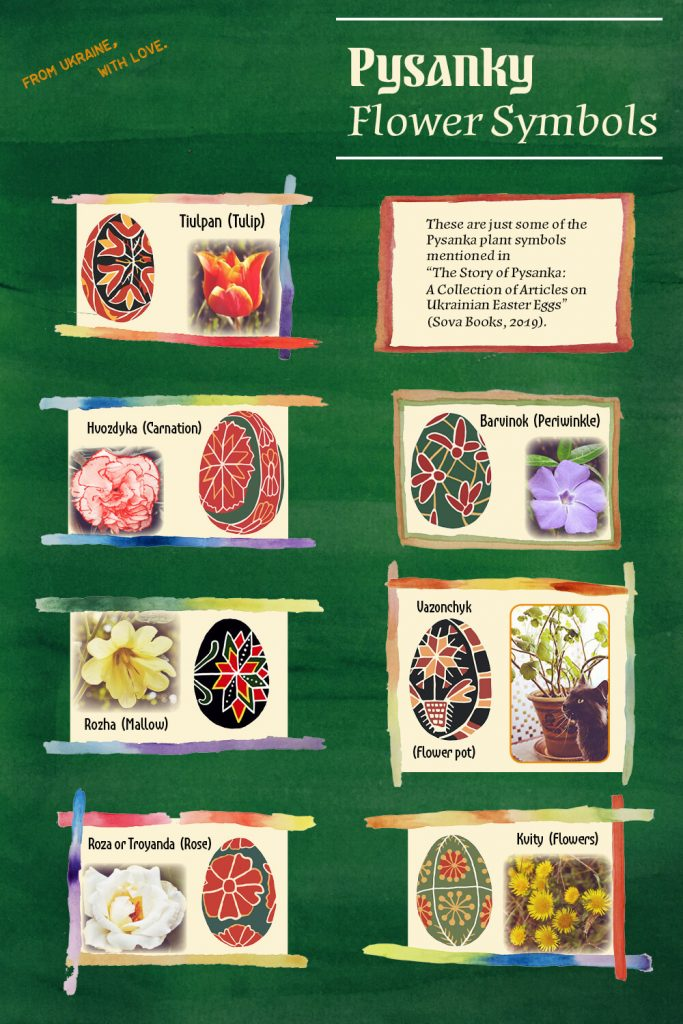 Infographic with seven images featuring pysanky plant symbols alongside plants they represent.