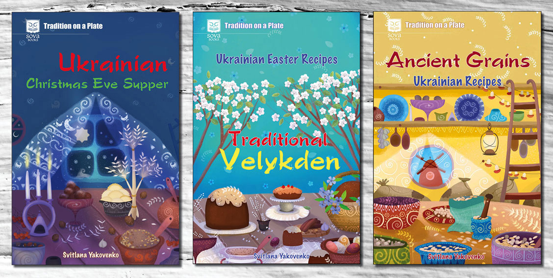 """Three of """"Tradition on a plate"""" series book covers."""