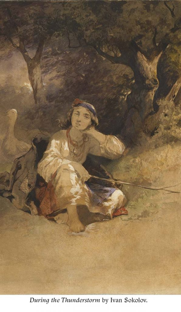 Ukrainian peasant girl sitting on a ground with geese and trees on the background